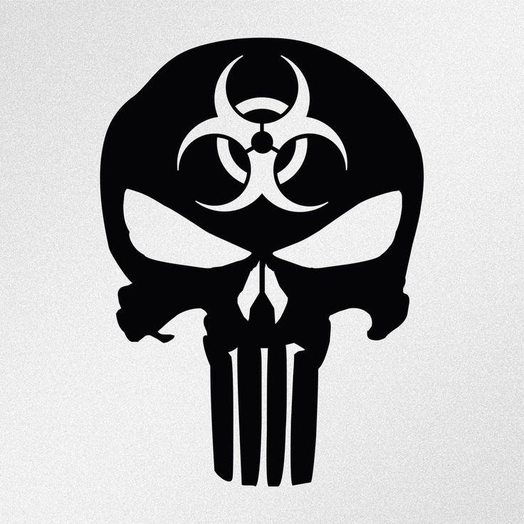 Punisher Skull Biohazard Symbol Car Body Window Bumper Vinyl Decal Sticker #Oracal