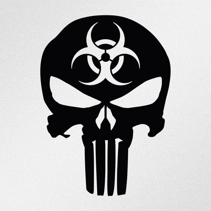 Details About Punisher Skull Biohazard Symbol Car Body