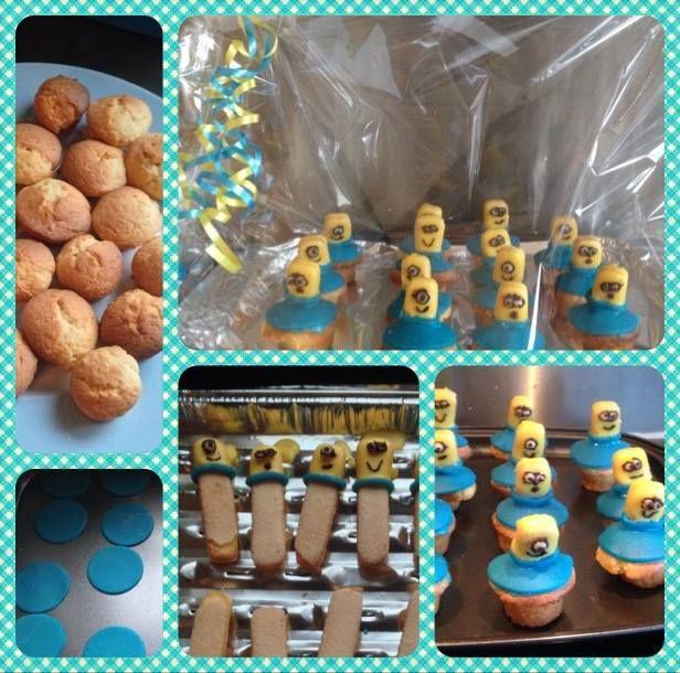 Kleine minion cupcakes 1,50 p/s