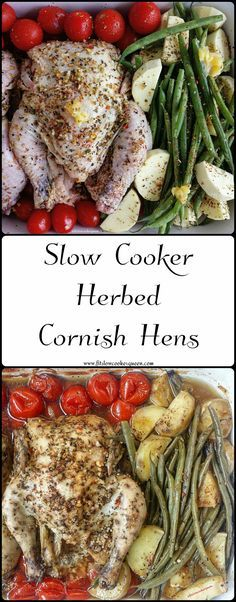 Healthy crockpot / slow cooker recipe whole30 paleo - Add a quick herb seasoning (from The Spice Cave) on the cornish hens and toss in your favorite vegetables for this easy and healthy slow cooker meal.