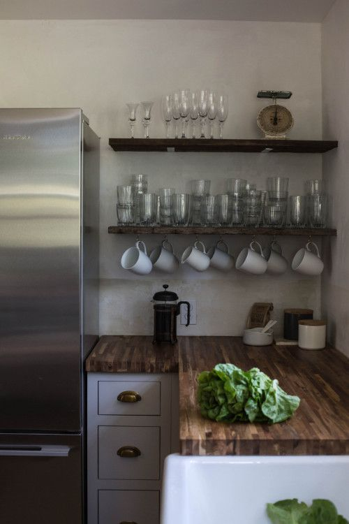 open kitchen storage.