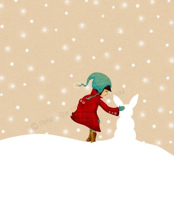 Childrens Winter Art Print Snow Bunny Print by TheFoxandTheTeacup, $24.00