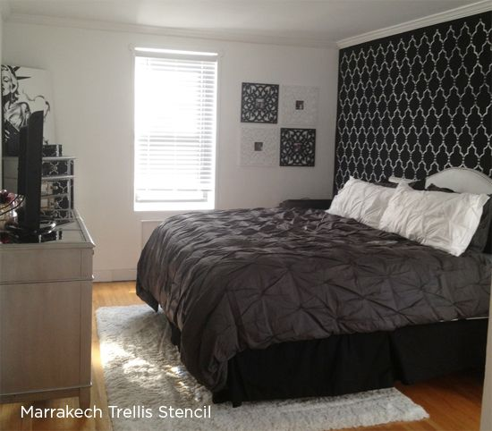117 best images about marrakech trellis allover stencil on - Black painted bedroom walls ...
