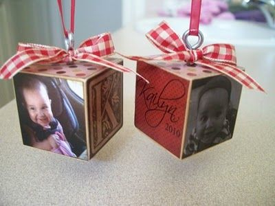 Christmas ornament blocks...love themCookies Nut, Gift Ideas, Kids Block, Photo Christmas Ornament, Christmas Ornaments, Christmas Block, Nut Creations, Block Ornaments, Christmas Gift