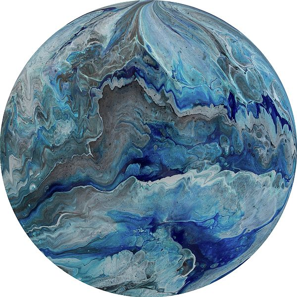Polaris 3 - A contemporary painting created using acrylic pour techniques. Painted on plastic coated aluminium discs. Inspired by the planets and sci-fi fantasy visual themes.