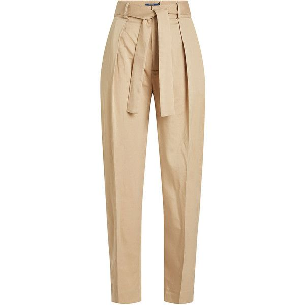 Polo Ralph Lauren Tapered Pants ($189) ❤ liked on Polyvore featuring pants, beige, polo ralph lauren, beige pants, peg-leg pants, highwaist pants and tapered leg pants