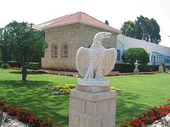 Outside of the Shrine of Baha'u'llah, in the Baha'i Gardens near Akka.