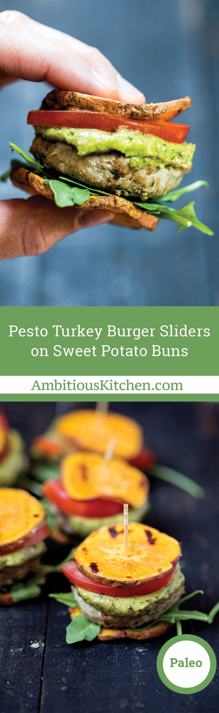 Paleo and gluten free turkey burger sliders on sweet potato buns. An easy bite sized recipe or appetizer!