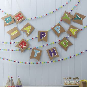 Our bright and bold Happy Birthday Kraft bunting is perfect for birthday parties!