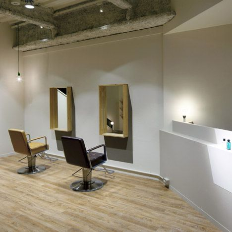 GreeM hair salon with artifical light and shadow by Takara Space Design