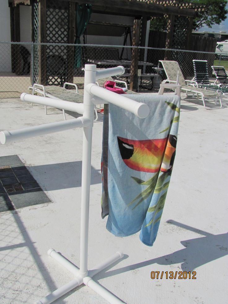 Pvc Pool Side Towel Rack Backyard Pinterest Lakes