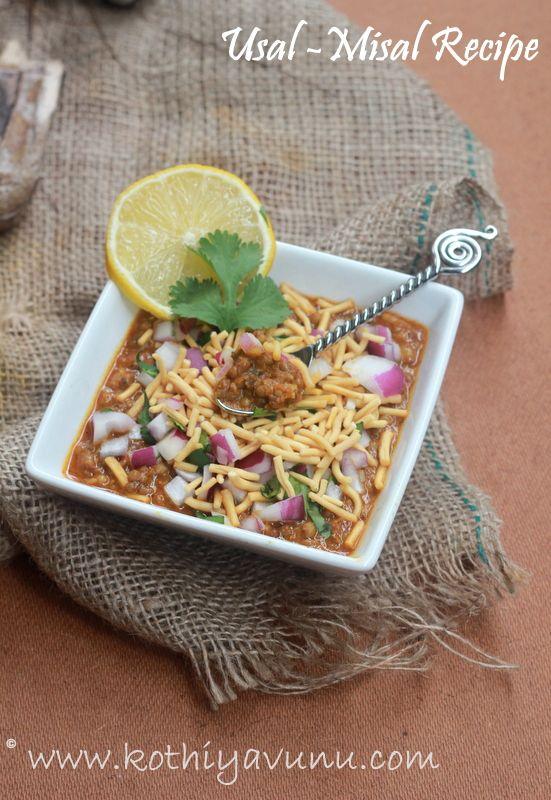 Kothiyavunu.com : Usal - Misal Pav Recipe - Mumbai Street food Recipes