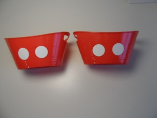 Mickey Mouse Clubhouse Birthday Party Ideas. Plain red buckets with buttons. So many uses!!!