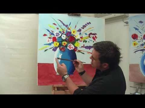 Art Lesson: How to Paint an Abstract Explosion of Flowers Using Acrylic Paint - YouTube