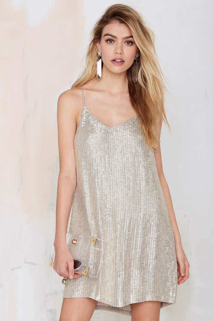 MLV Whitney Metallic Beaded Dress//