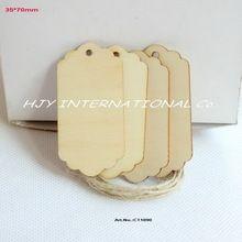 (80pcs/lot) Обычная пустые деревянные закладки этикетки дерева подарочные ремесла свадебные украшения с струнного висячего CT1090(China (Mainland))