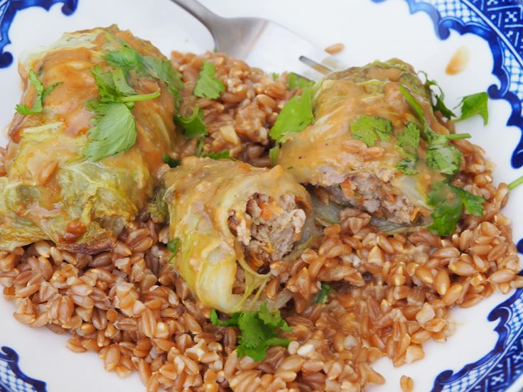 Asian-inspired pork cabbage rolls with peanut sauce