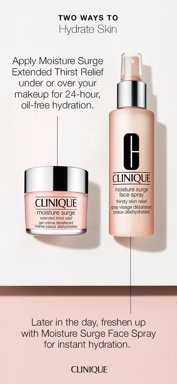 Two ways to hydrate skin. Apply Moisture Surge Extended Thirst Relief under or over makeup for 24-hours of oil free hydration and freshen up anytime with Moisture Surge Face Spray for instant hydration.