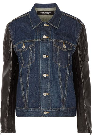 Junya Watanabe - Printed Denim And Faux Leather Jacket - Dark denim -