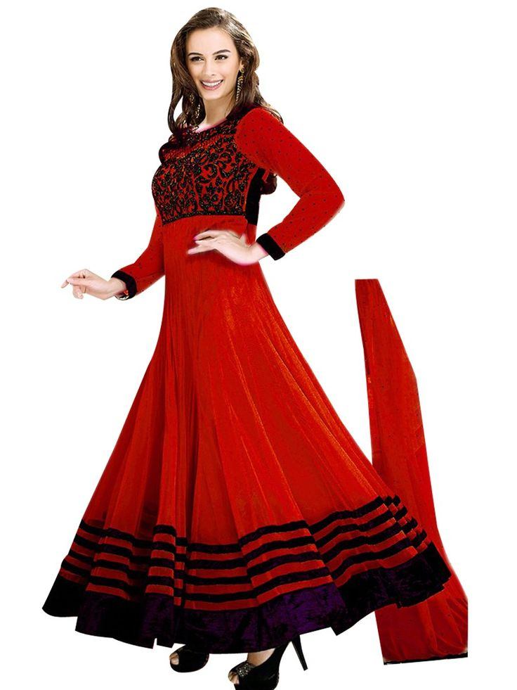 Purchase | Evelyn Sharma Red Embroidered Anarkali Suit