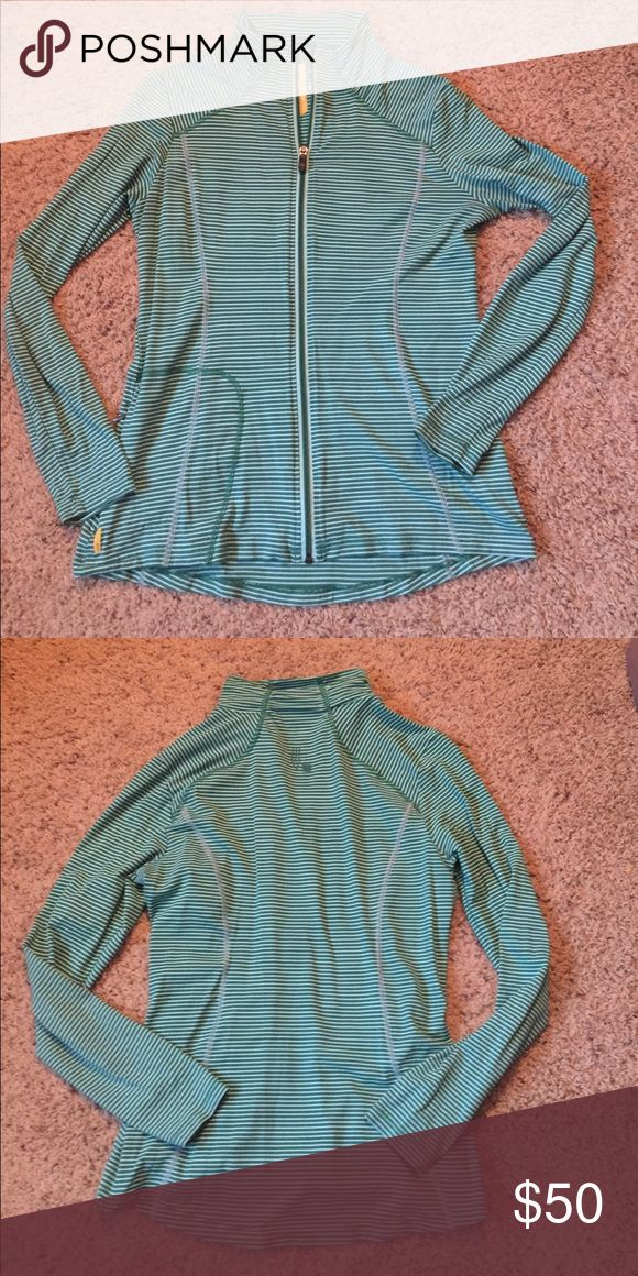 Lole Essentials 2 jacket green and white sz. L Darling green and white striped Lole jacket.  Hardly worn!!  Sz. L Lole Jackets & Coats