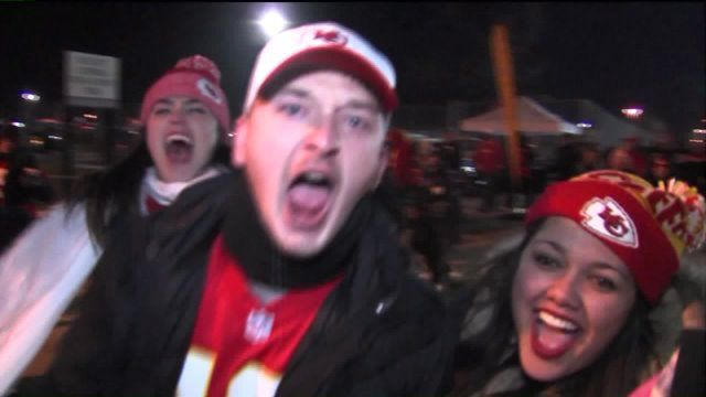 KANSAS CITY, Mo. -- Excitement was at an all time high on Sunday as fans cleared out of Arrowhead Stadium following the Chiefs' win over the Raiders. Chiefs fans are hoping that record-breaking 10-...   look at my BIL 0.31 seconds getting his 3 sec of fame! Go Chiefs!