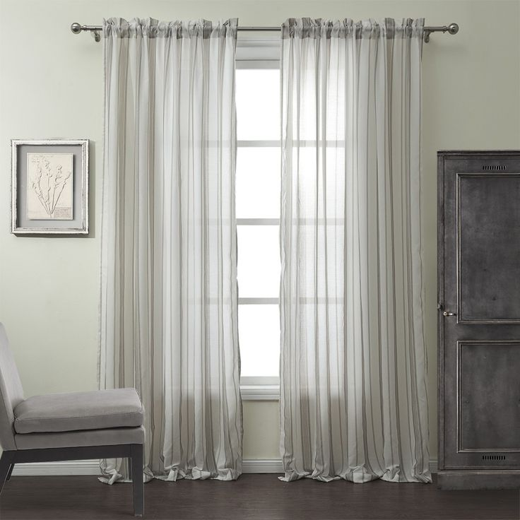 Cotton Linen Blend Jacquard Stripe Classic Sheer Curtain  #curtains #stripe #modern #cotton #custommade #homedecor #decor