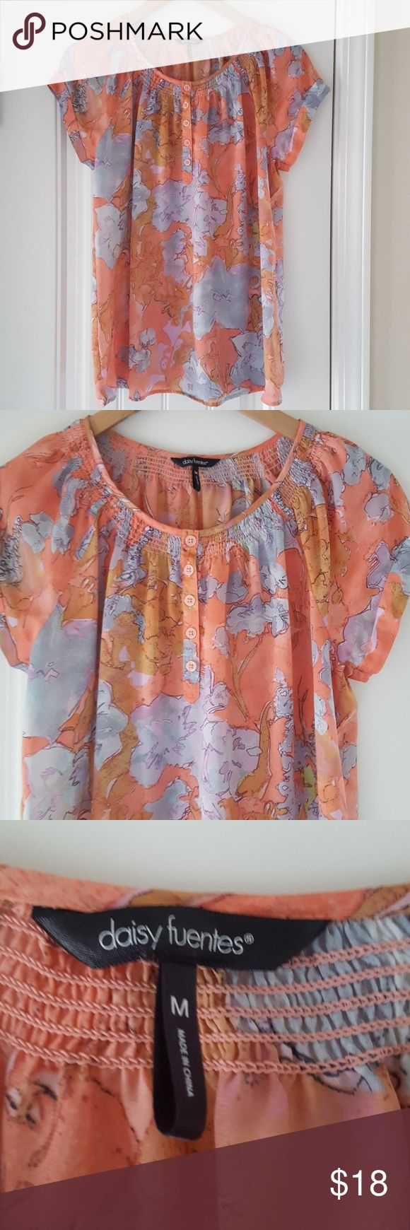 Daisy Fuentes Medium Sheer Floral Top Sheer and light! Daisy Fuentes from Kohl's Bundle suggestion Ann Taylor earrings!!! 30 percent off bundles!!!! Daisy Fuentes Tops Blouses