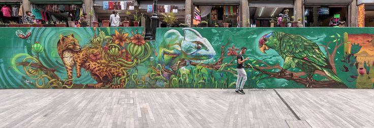Murales cerca de Plaza de Mariachis - Caminando por el DF, en la zona de la plaza de Mariachis, junto a todos los olores que las comidas populares impregnan a la zona,  la gente comiendo en la vía publica, sentada en pilares, o asientos, pueden verse murales como este que capture mediante varias fotos, para componer una toma panorámica.