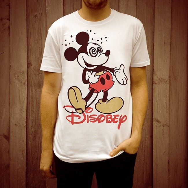 DISOBEY Micky design on men's white T-shirt by DISOBEY, exclusive to Uncle Reco Retro Clothing.