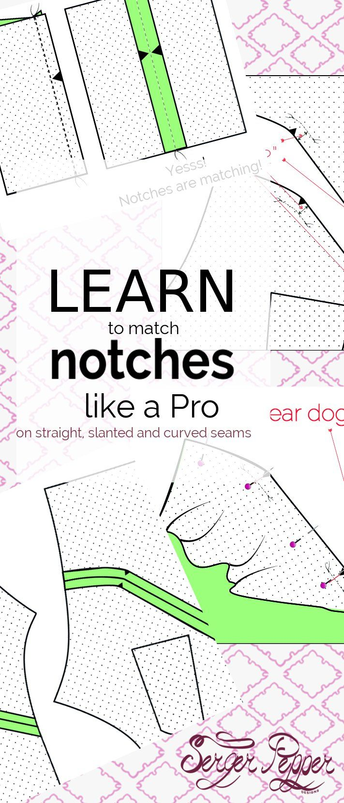 Serger Pepper - Learn to use Notches like a Pro: oyu'll never fail putting together a slanted or curved seam again. All the whys and the how-tos you need to work with sewing notches. Re-pin this now! only on SergerPepper.com
