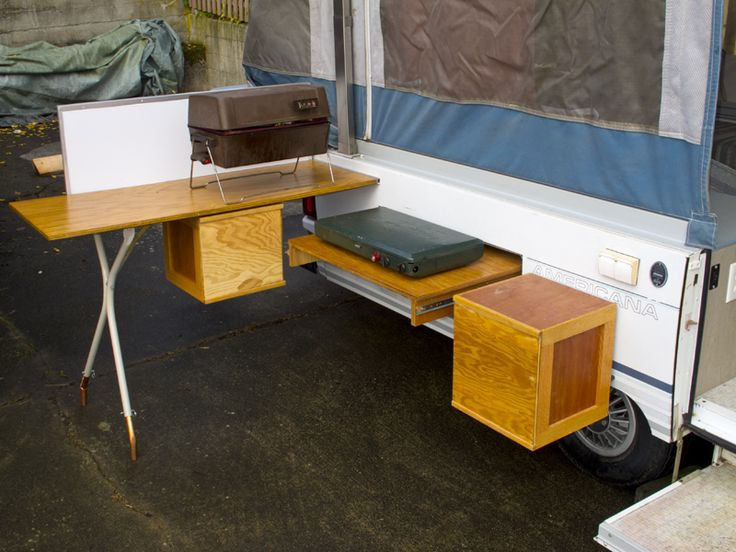 Outdoor kitchen for the pop up ya ya popup camper fun for Trailer kitchen ideas
