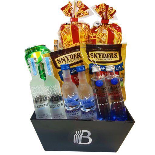 The Vodka Sampler $70 2 – Popcornopolis Gourmet Flavored Popcorn 2 – Packs of Snyder's Pretzels 1 – BroBasket Branded Rocks Glass 1 – Can of Sprite 1 – BroBasket Reusable Tin The Booze 2 – Bottles of Belvedere Premium Vodka (50ml) 2 – Bottles of Grey Goose Vodka (50ml) 2 – Bottles of Ciroc Vodka (50ml)