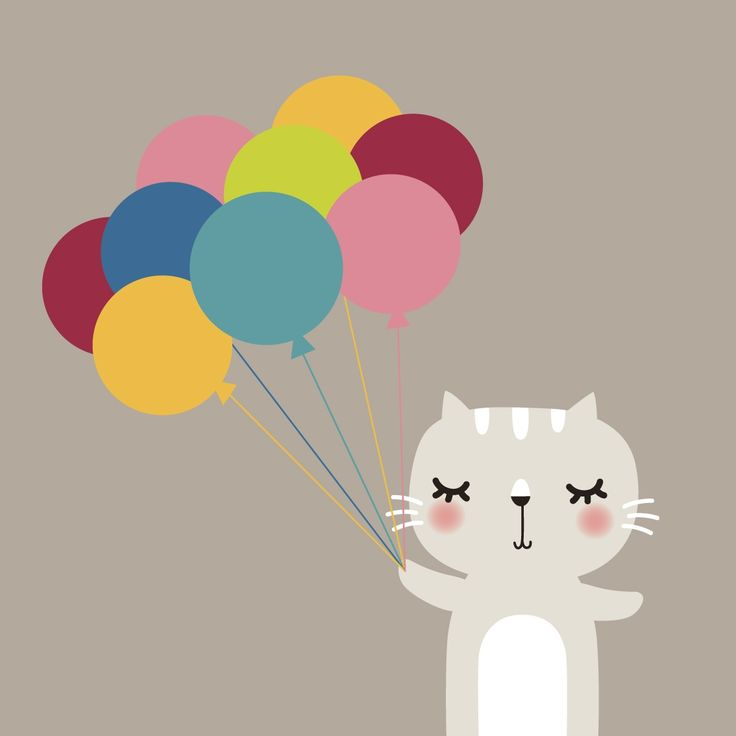 40x40cm Canvas Print - Cat with Balloons - hardtofind.