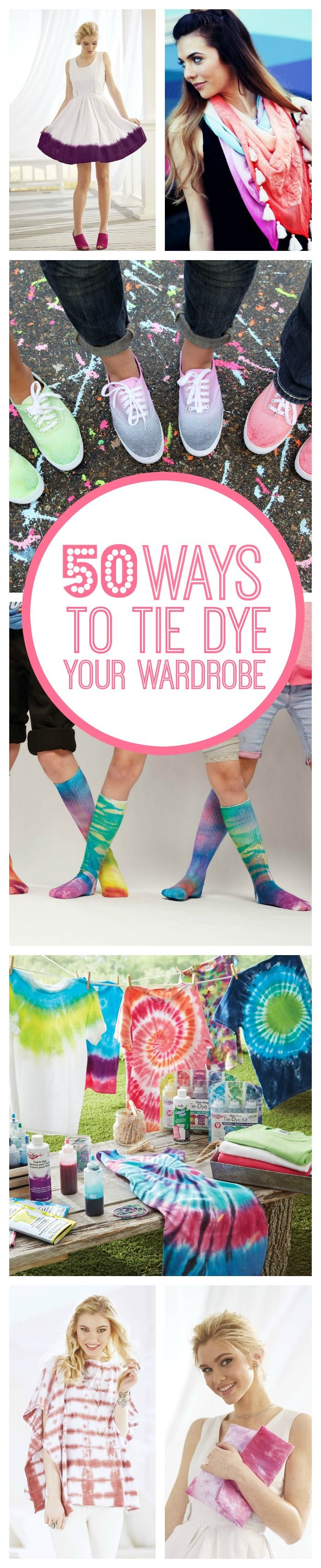 Learn how to tie dye with these fun DIYs! Tie dye is not just for shirts! You can tie dye anything you own! Turn your closet into tie dye heaven this summer with these fun techniques!