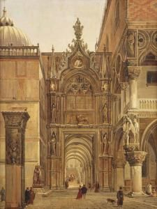 Frans Vervloet - A View From The Piazza San Marco Towards The Porta Della Carta, Venice