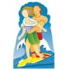 """Surfer Couple STAND-IN (6' 2"""" High)"""