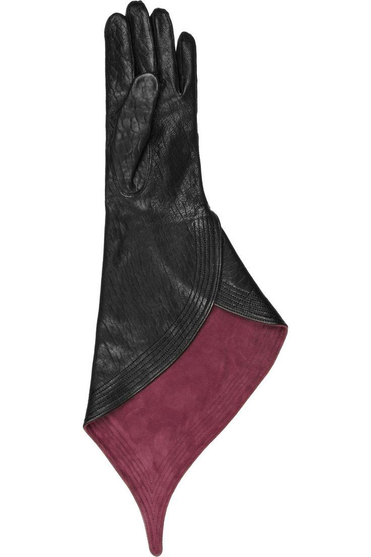 Buy leather gauntlet gloves - Haider Ackermann Asymmetrical Gauntlet Glove Pointed Leather Gloves