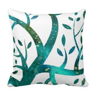 Watercolor Poppies in Teal Throw Pillow