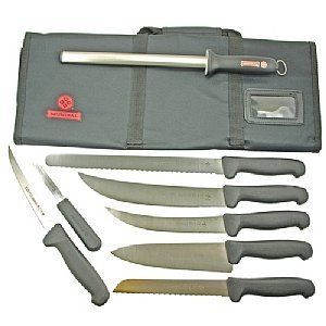 Competition BBQ Knife Set With Mundigrips . $159.95. Mad Cow Cutlery's exclusive Mundial Mundigrip BBQ knife set includes the knives you need to prepare your award winning barbecue. Assembled with the most popular knives for meat processing. As an added feature we have included Mundial's highest selling diamond coated sharpening steel and provided a durable soft sided nylon case to securely store and transport your knives. Commercial quality cutlery by one of th...