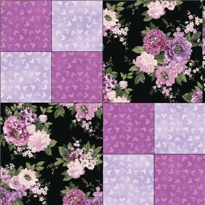 Purple Lavender  Rose Floral Quilt Block