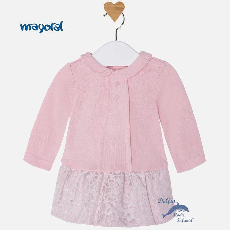 Vestido de bebe MAYORAL NEWBORN manga larga combinado punto y jacquard