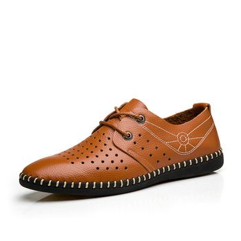 Fashion Brand Men's Shoes Breathable Man Casual Scarpe Soft Massage Footwear Blue Light Brown Size 38 to 44