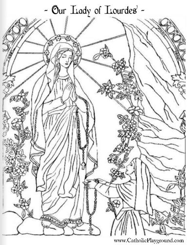 """Our Lady of Lourdes and Saint Bernadette Catholic coloring page. """"I am the Immaculate Conception"""
