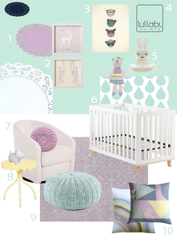 My Modern Nursery # 68 Lovely Lilac And Mint Featuring Babyletto Madison  Swivel Glider
