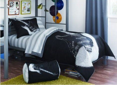 Black White Guitar Rock N Roll Twin Comforter Set 6 Piece Bed In A