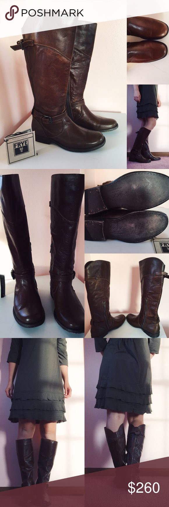 "Frye Women's Riding Boots Brand new Fyre Women's riding boots. Beautiful chocolate brown, inside zipper. Leather soles and soft leather. I'm 5'3"" with calves measuring 14"" and these are just a little more snug than I want them to be, though the leather should stretch a bit with wear. Frye Shoes Winter & Rain Boots"