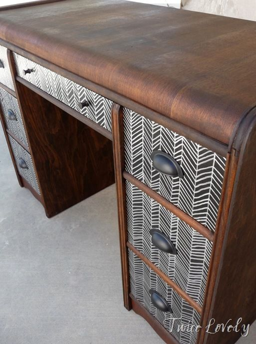 DIY Upcylced two-toned vintage desk with hand drawn herringbone drawers