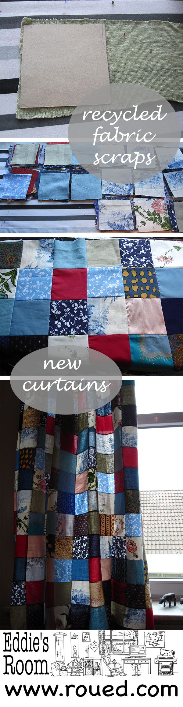Patchwork curtains tutorial by Eddie's Room, roued.com