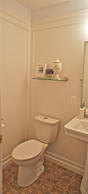 Ocean Front Shack: Guest Bathroom Wainscoting over Wallpaper